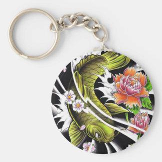 Cool oriental japanese black ink lucky koi fish key ring