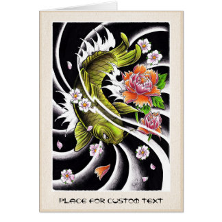 Cool oriental japanese black ink lucky koi fish note card