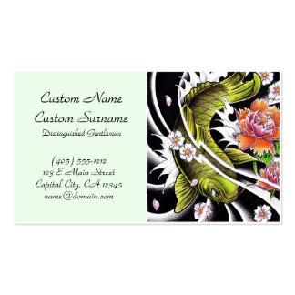 Cool oriental japanese black ink lucky koi fish pack of standard business cards
