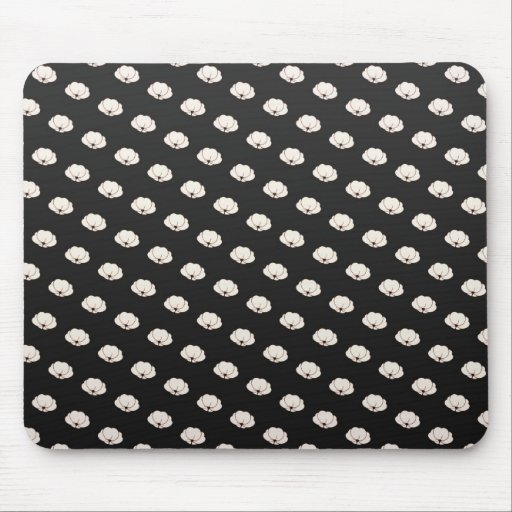 Cool oriental japanese black white cherry flower mouse pad