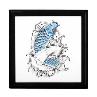 Cool Oriental Japanese Blue Koi Carp Fish tattoo Large Square Gift Box