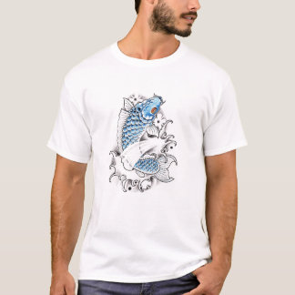 Cool Oriental Japanese Blue Koi Carp Fish tattoo T-Shirt