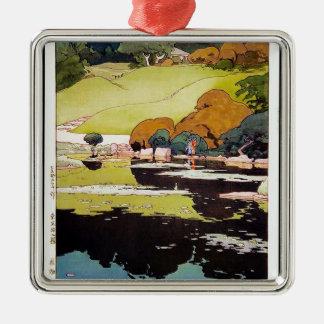 Cool oriental japanese Botanical garden Lake scene Silver-Colored Square Decoration