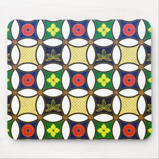 Cool oriental japanese circle flower pattern mouse pad