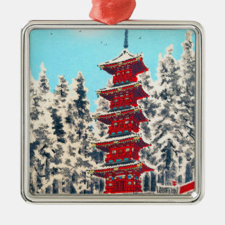 Cool oriental japanese clasic ancient shrine art Silver-Colored square decoration