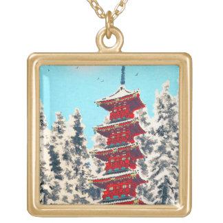 Cool oriental japanese clasic ancient shrine art square pendant necklace