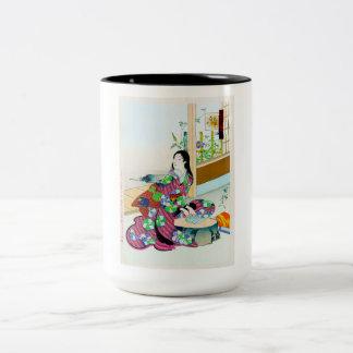 Cool oriental japanese clasic geisha lady art mugs