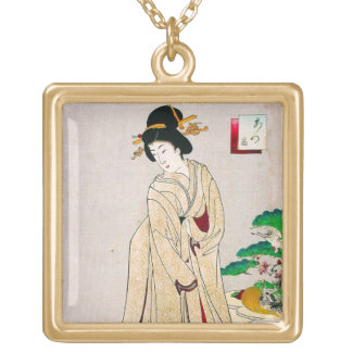 Cool oriental japanese clasic geisha lady art square pendant necklace