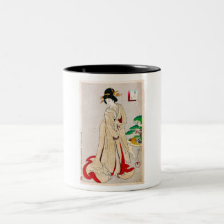 Cool oriental japanese clasic geisha lady art Two-Tone coffee mug