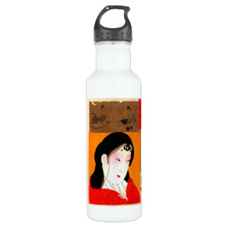 Cool oriental japanese classic geisha lady 710 ml water bottle