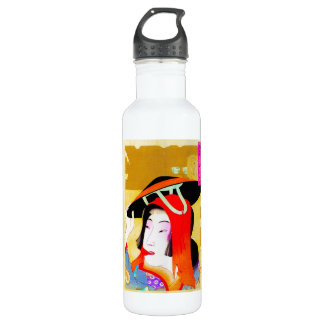 Cool oriental japanese classic geisha lady art 710 ml water bottle