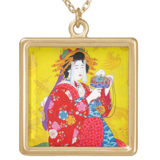 Cool oriental japanese classic geisha lady art square pendant necklace