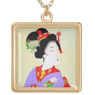 Cool oriental japanese classic geisha lady art necklace