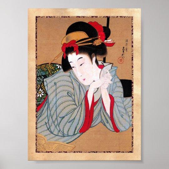 Cool oriental japanese classic geisha lady art poster