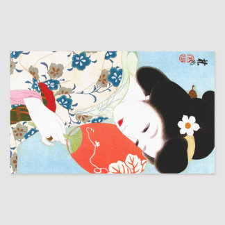 Cool oriental japanese classic geisha lady art rectangular sticker