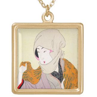 Cool oriental japanese classic geisha lady art square pendant necklace