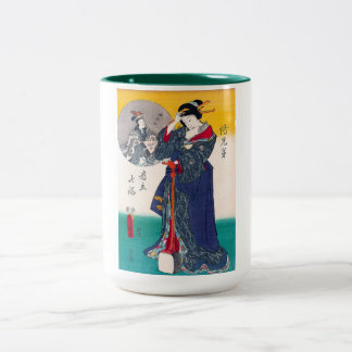 Cool oriental japanese classic geisha lady art Two-Tone coffee mug