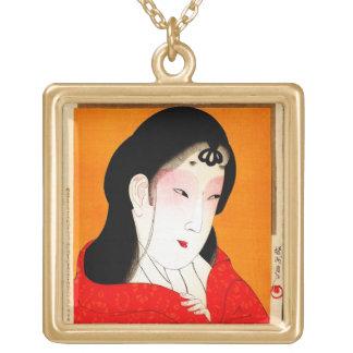 Cool oriental japanese classic geisha lady square pendant necklace