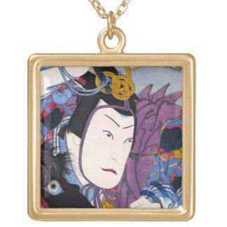 Cool oriental japanese classic kabuki actor art square pendant necklace