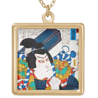 Cool oriental japanese classic kabuki actor art square pendant necklace