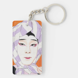 Cool oriental japanese classic lady painting Double-Sided rectangular acrylic key ring
