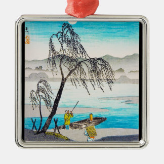Cool oriental japanese classic river scenery art Silver-Colored square decoration