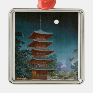 Cool oriental japanese classic Shrine temple night Silver-Colored Square Decoration