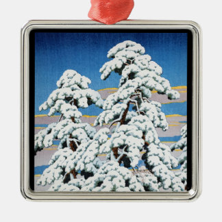 Cool oriental japanese classic winter snow tree Silver-Colored square decoration