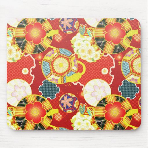 Cool oriental japanese colourful pattern mouse pads