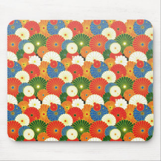 Cool oriental japanese colourful umbrela pattern mouse pad