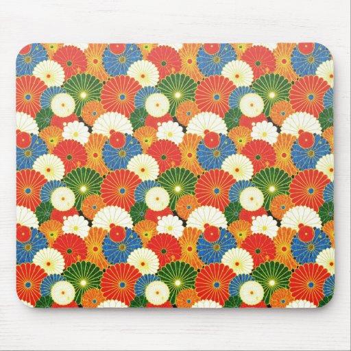Cool oriental japanese colourful umbrela pattern mousepad