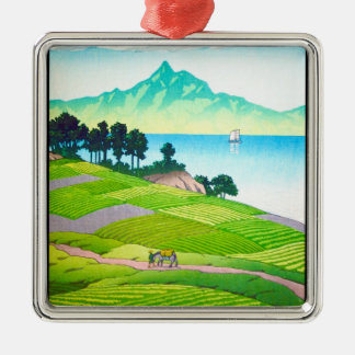 Cool oriental japanese country side lake art Silver-Colored square decoration