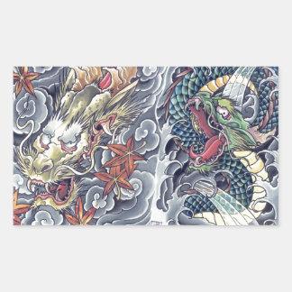 Cool oriental japanese dragon god tattoo storm rectangular sticker