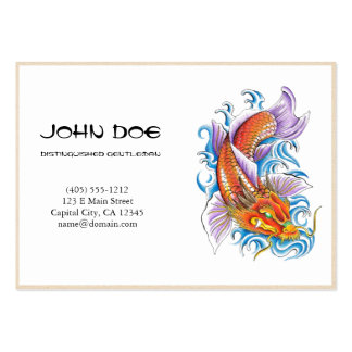 Cool oriental japanese dragon ink lucky koi fish business cards