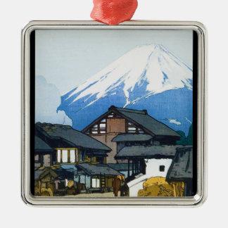 Cool oriental japanese Fuji from Furatsu Yoshida Silver-Colored Square Decoration