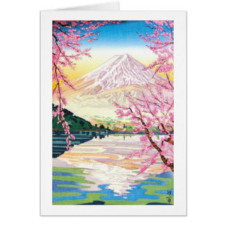 Cool oriental japanese Fuji spring cherry tree art Card