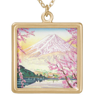 Cool oriental japanese Fuji spring cherry tree art Necklaces