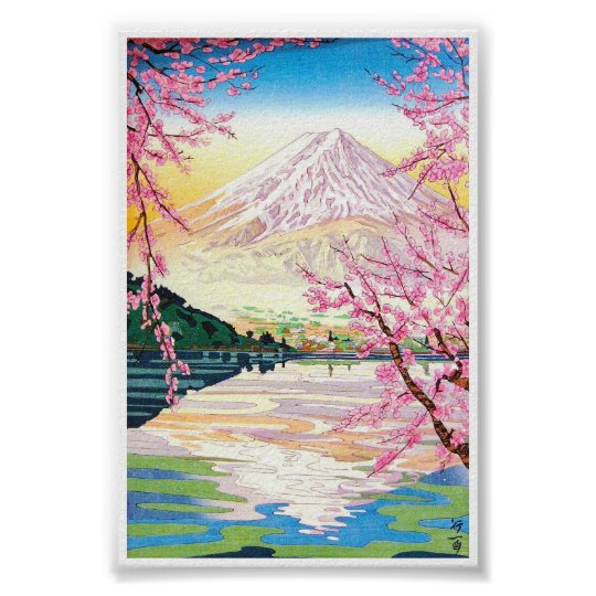 Cool oriental japanese Fuji spring cherry tree art