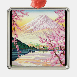 Cool oriental japanese Fuji spring cherry tree art Silver-Colored Square Decoration