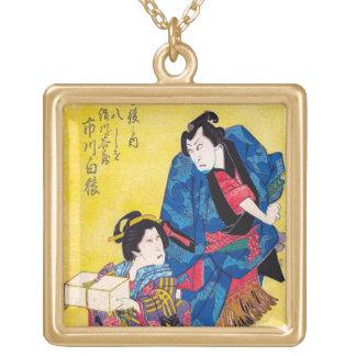 Cool oriental japanese geisha and samurai warrior square pendant necklace