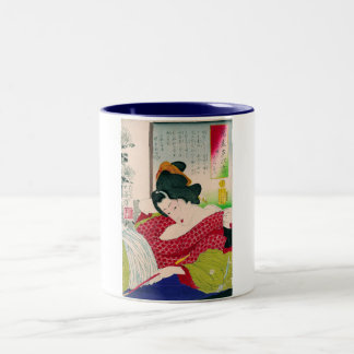 Cool oriental japanese geisha lady art woodprint mugs
