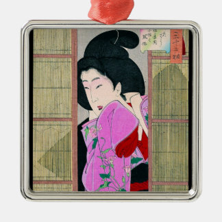 Cool oriental japanese geisha pink fabric art Silver-Colored square decoration