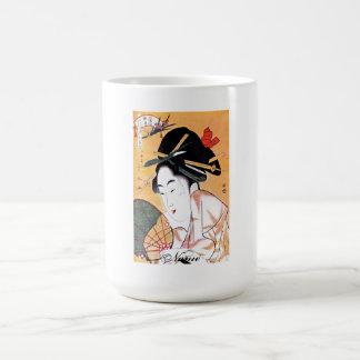 Cool Oriental Japanese Geisha Portrait Basic White Mug