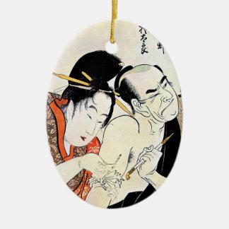 Cool Oriental Japanese Geisha Tattoo art Ceramic Oval Decoration