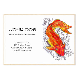 Cool oriental japanese gold ink lucky koi fish business card