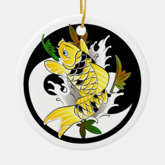 Cool Oriental Japanese Gold Koi Ying Yang tattoo Christmas Ornament