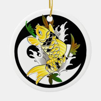 Cool Oriental Japanese Gold Koi Ying Yang tattoo Round Ceramic Decoration