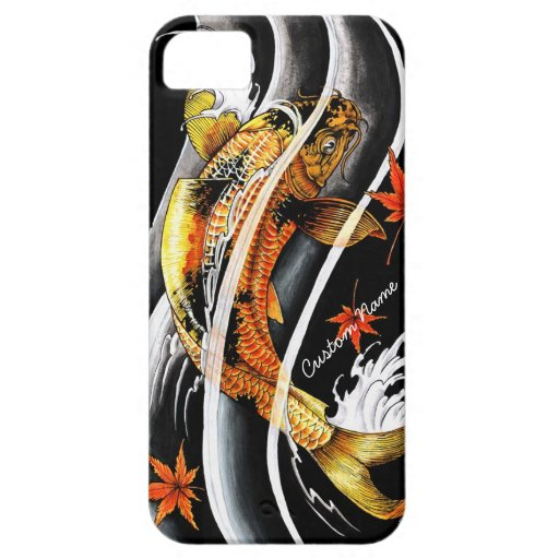 Cool oriental japanese gold lucky koi fish tattoo iphone 5 for Lucky koi fish