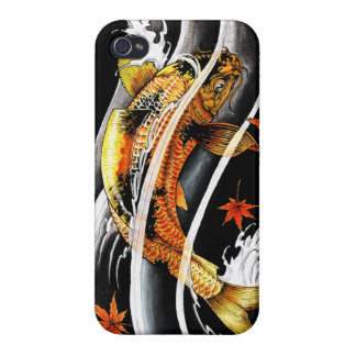 Cool oriental japanese Gold Lucky Koi Fish tattoo Case For iPhone 4