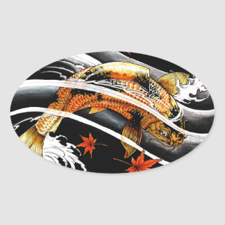 Cool oriental japanese Gold Lucky Koi Fish tattoo Oval Sticker